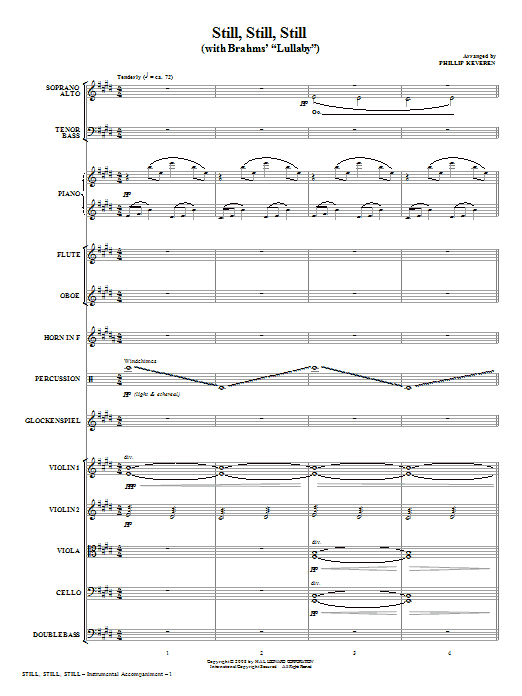 Still, Still, Still (with Brahms' Lullaby) (COMPLETE) sheet music for orchestra/band (chamber ensemble) by Phillip Keveren. Score Image Preview.
