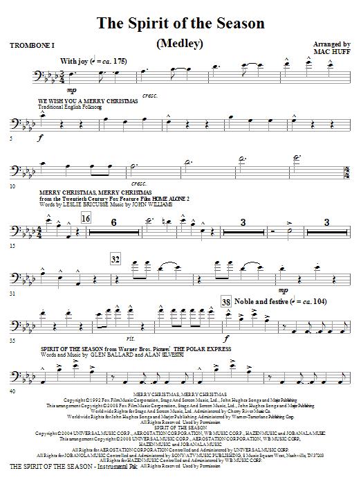 The Spirit Of The Season (Medley) - Trombone 1 (Choir Instrumental Pak)