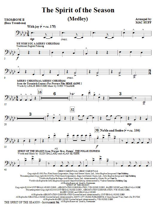 The Spirit Of The Season (Medley) - Trombone 2 (Choir Instrumental Pak)