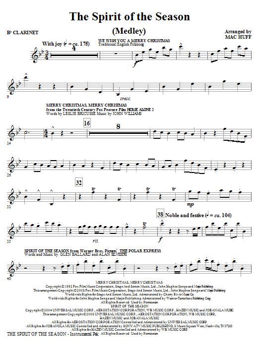 The Spirit Of The Season (Medley) - Clarinet (Choir Instrumental Pak)