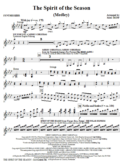The Spirit Of The Season (Medley) - Synthesizer (Choir Instrumental Pak)