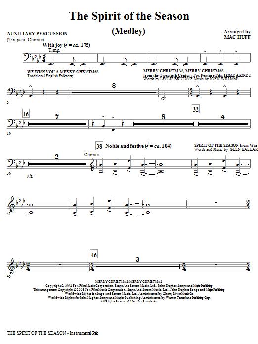The Spirit Of The Season (Medley) - Timpani (Choir Instrumental Pak)