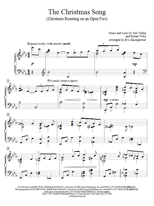 The Christmas Song (Chestnuts Roasting On An Open Fire) (Educational Piano)