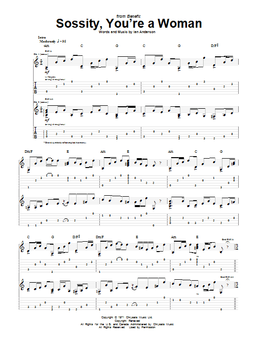 Sossity, You're A Woman (Guitar Tab)