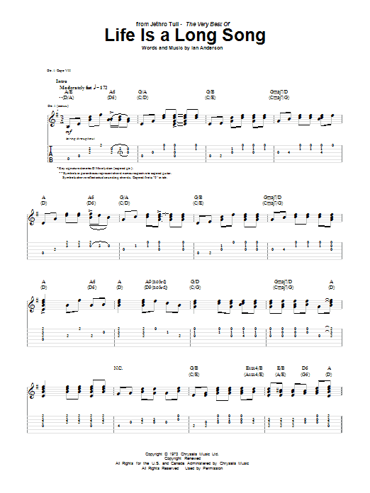 Tablature guitare Life Is A Long Song de Jethro Tull - Tablature Guitare