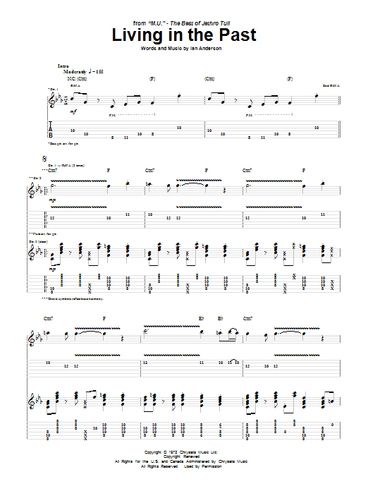 Living In The Past (Guitar Tab)