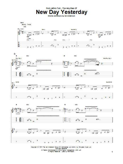 Tablature guitare New Day Yesterday de Jethro Tull - Tablature Guitare