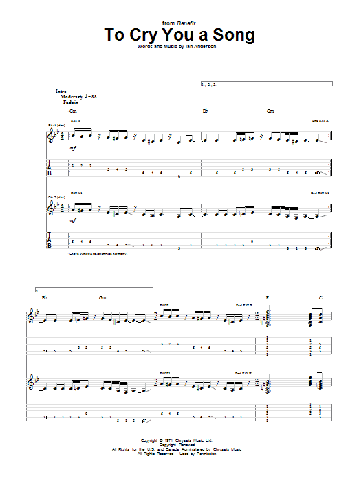 To Cry You A Song Sheet Music