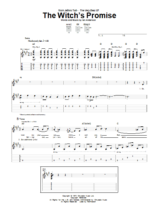 Tablature guitare The Witch's Promise de Jethro Tull - Tablature Guitare