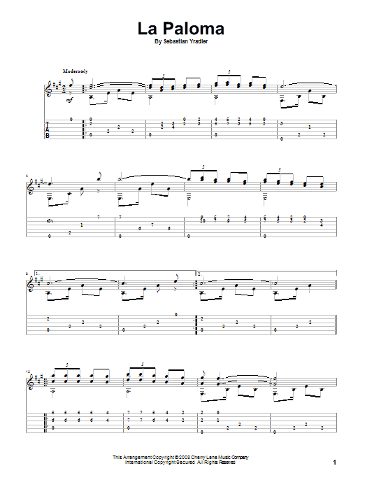 Tablature guitare La Paloma Blanca (The White Dove) de Sebastian Yradier - Tablature Guitare