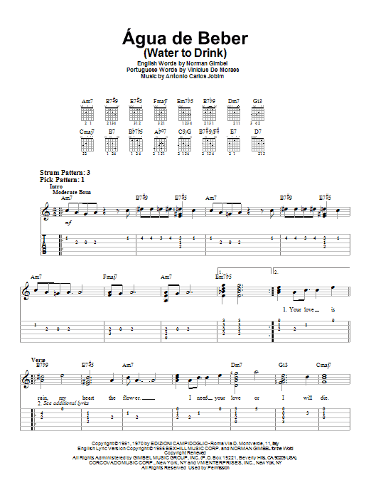 Agua De Beber (Water To Drink) (Easy Guitar Tab)
