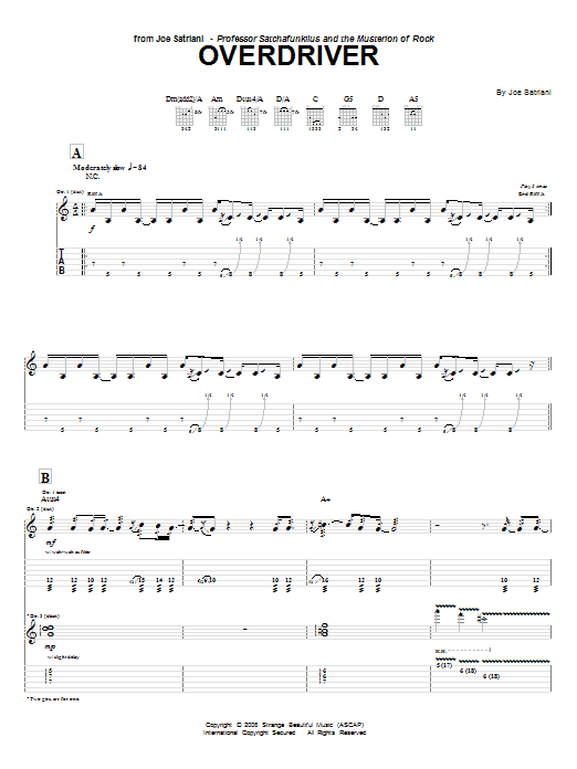 Tablature guitare Overdriver de Joe Satriani - Tablature Guitare