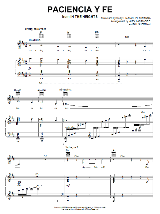 Paciencia Y Fe Sheet Music