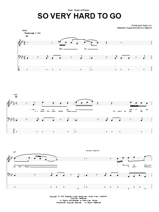 Tablature guitare So Very Hard To Go de Tower Of Power - Tablature Basse