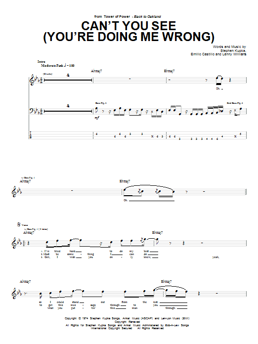 Tablature guitare Can't You See (You're Doing Me Wrong) de Tower Of Power - Tablature Basse