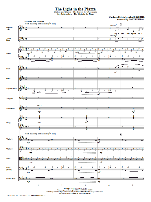 The Light In The Piazza (Choral Highlights) (COMPLETE) sheet music for orchestra/band (Orchestra) by Adam Guettel and John Purifoy. Score Image Preview.