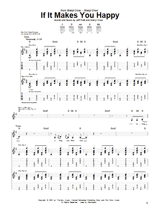 Tablature guitare If It Makes You Happy de Sheryl Crow - Tablature Guitare