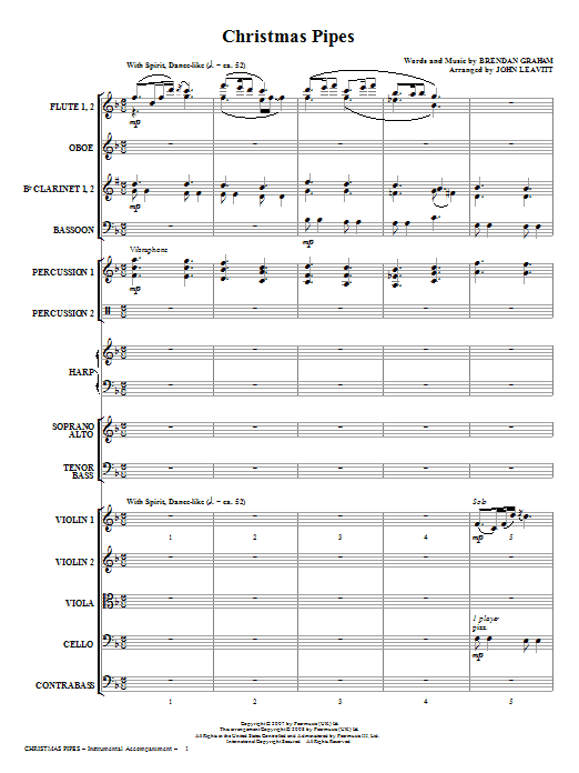 Christmas Pipes (COMPLETE) sheet music for orchestra/band (Orchestra) by John Leavitt, Brendan Graham and Celtic Woman. Score Image Preview.
