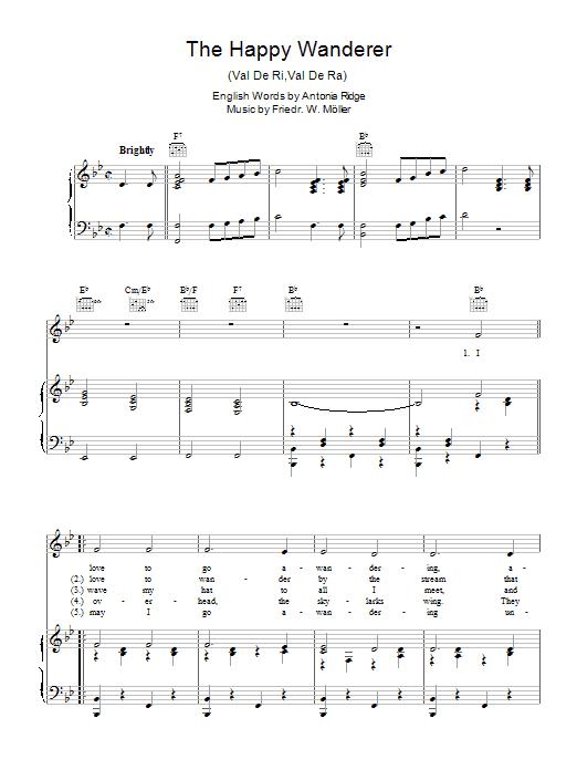 The Happy Wanderer (Val-De-Ri, Val-De-Ra) (Piano, Vocal & Guitar)