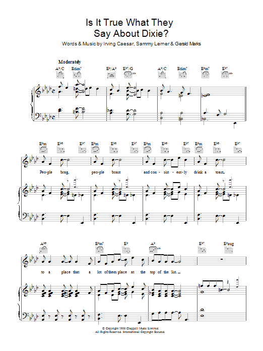 Is It True What They Say About Dixie? Sheet Music