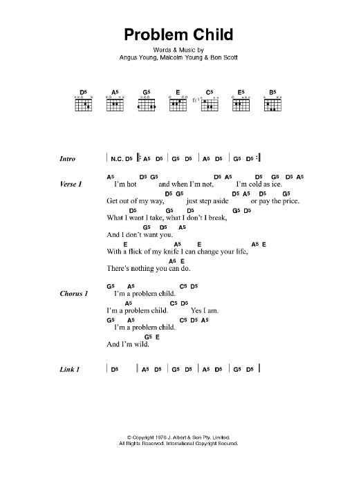 Problem Child by AC/DC - Guitar Chords/Lyrics - Guitar Instructor
