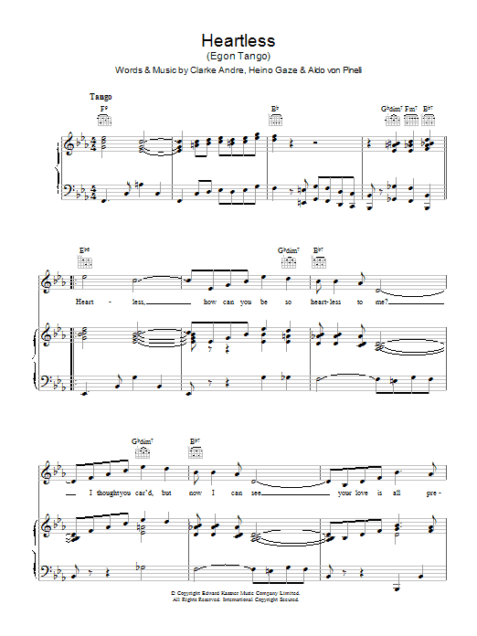 Heartless (Egon Tango) (Piano, Vocal & Guitar)