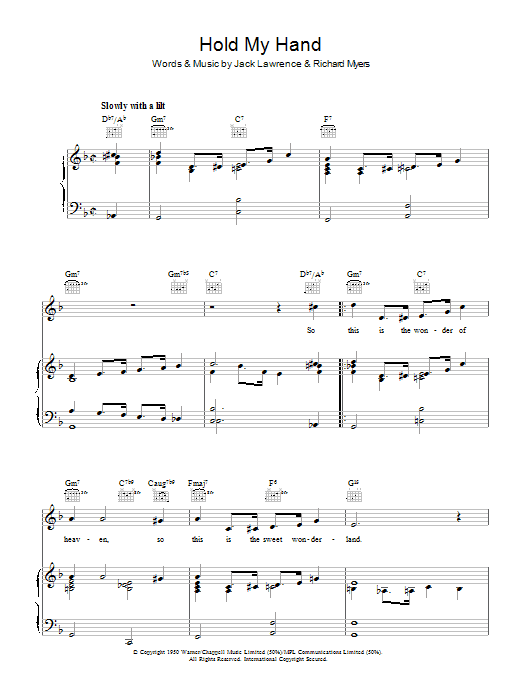 Hold My Hand (Piano, Vocal & Guitar)