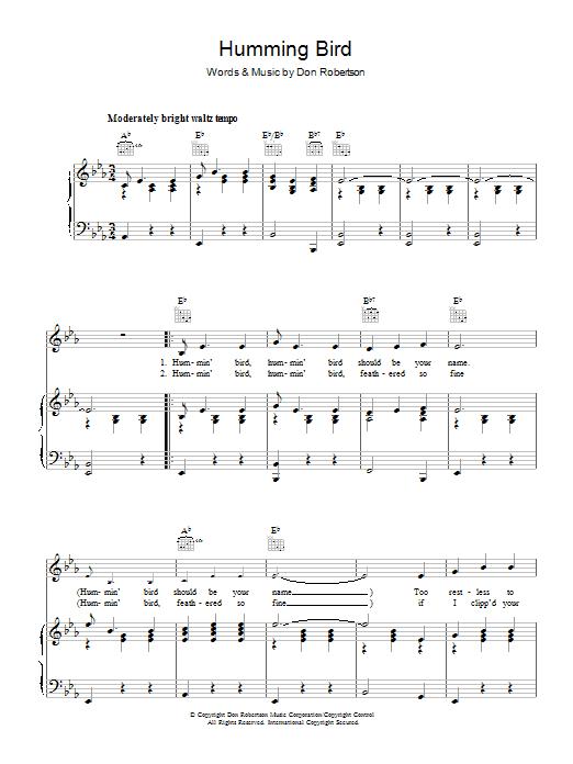 Humming Bird (Piano, Vocal & Guitar)
