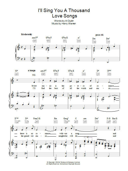 I'll Sing You A Thousand Love Songs Sheet Music