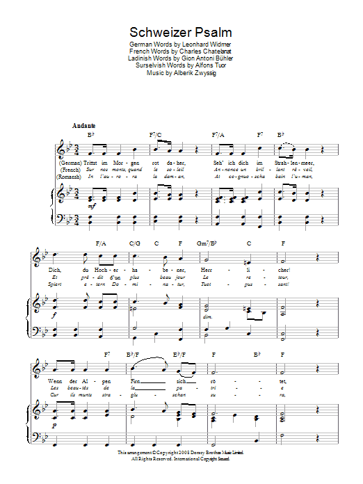 Schweizer Psalm (Swiss National Anthem) Sheet Music