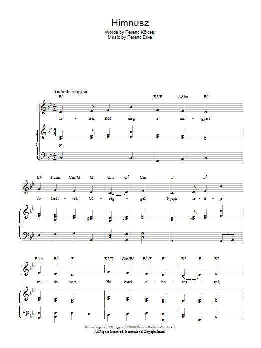 Himnusz (Hungarian National Anthem) (Piano, Vocal & Guitar)