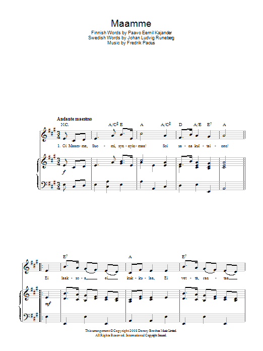 Maamme (Finnish National Anthem) Sheet Music