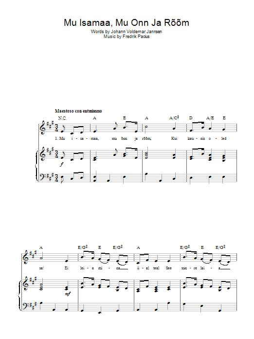 Mu Isamaa, Mu Onn Ja Room (Estonian National Anthem) Sheet Music