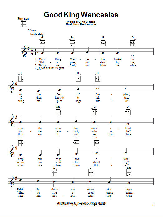 Ukulele ukulele tabs good king wenceslas : Good King Wenceslas sheet music by Christmas Carol (Ukulele – 80979)