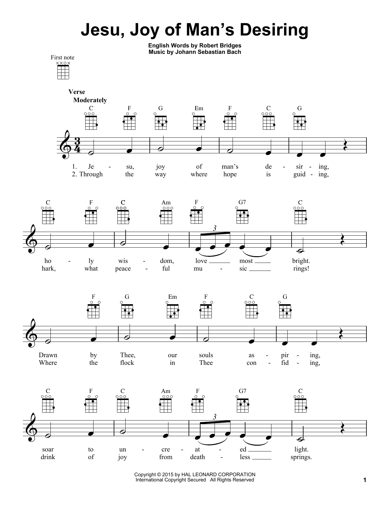 Tablature guitare Jesu, Joy Of Man's Desiring de Johann Sebastian Bach - Ukulele