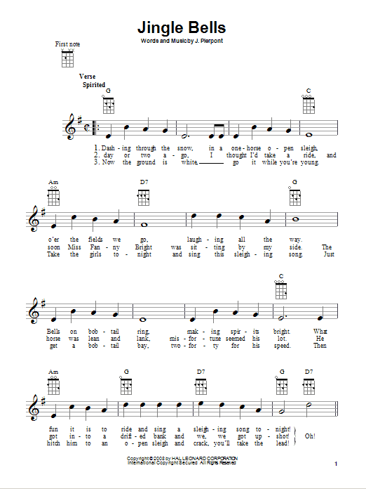 Tablature guitare Jingle Bells de J. Pierpont - Ukulele