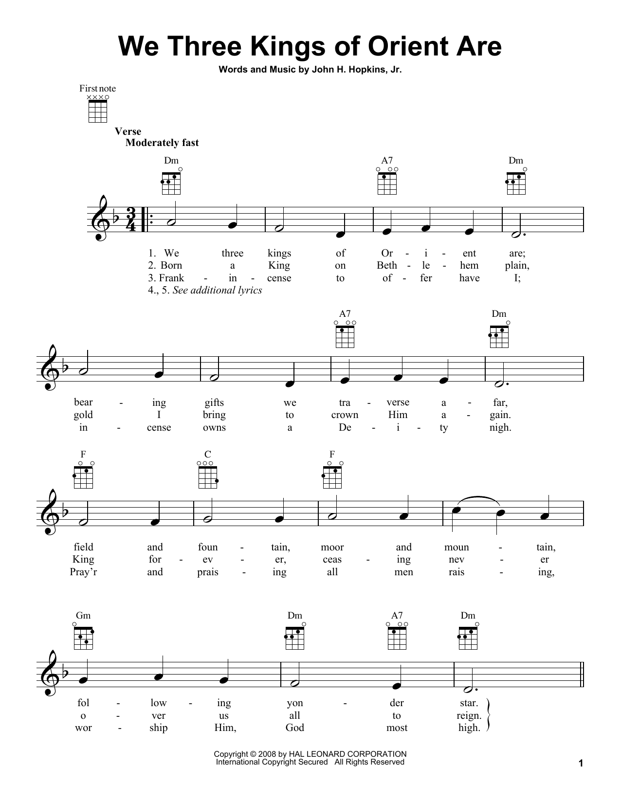 Tablature guitare We Three Kings Of Orient Are de John H. Hopkins, Jr. - Ukulele