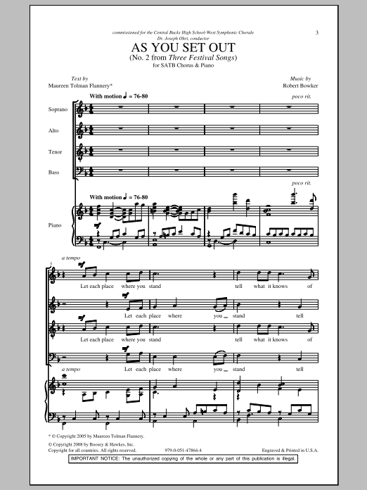 As You Set Out (SATB Choir)