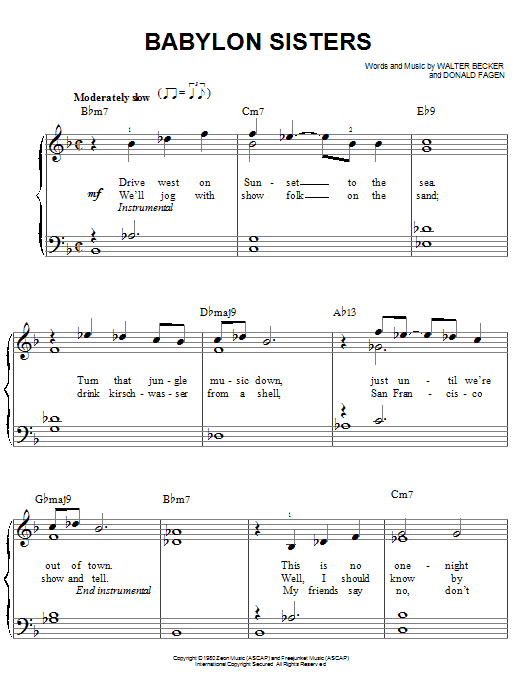 Partition piano Babylon Sisters de Steely Dan - Piano Facile