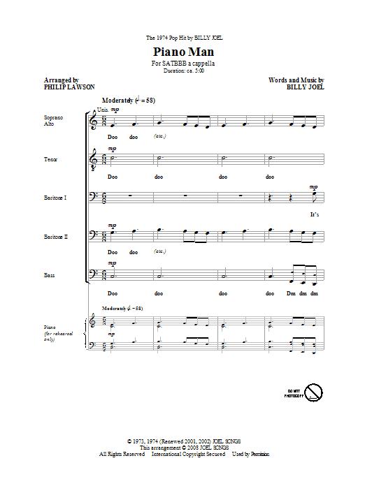 Piano Man (SATB Choir)