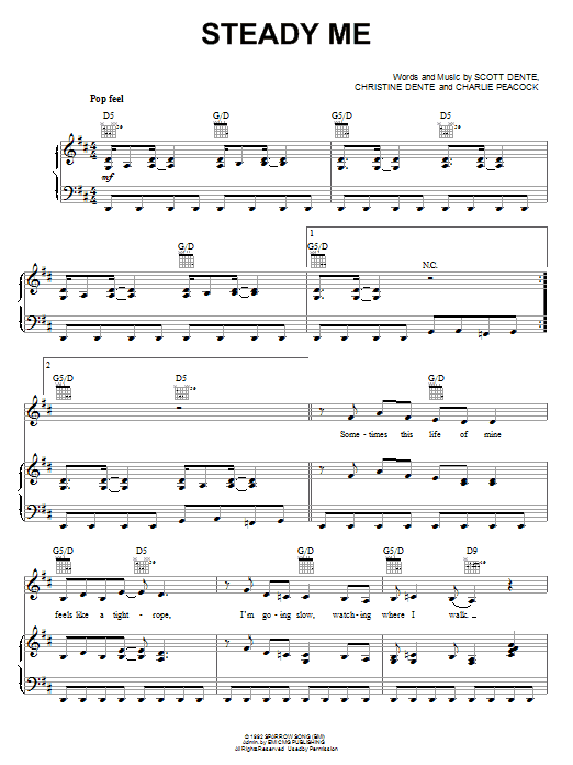 Steady Me (Piano, Vocal & Guitar (Right-Hand Melody))