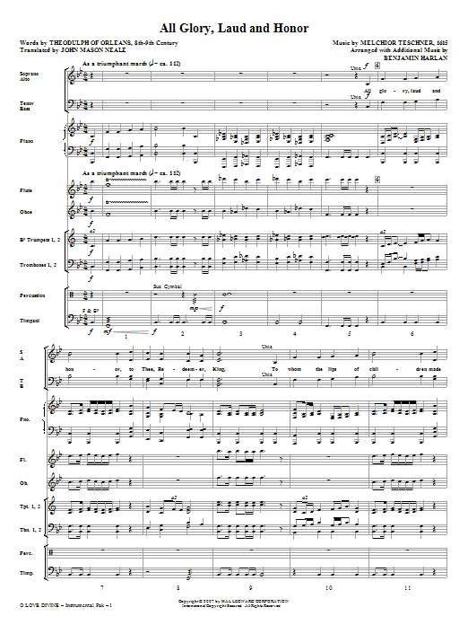 O Love Divine (COMPLETE) sheet music for orchestra/band by Benjamin Harlan, Charles Wesley, Christopher Wordsworth and John Purifoy. Score Image Preview.