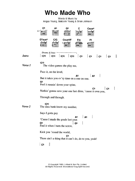 Who Made Who by AC/DC - Guitar Chords/Lyrics - Guitar Instructor