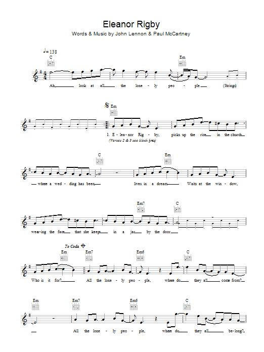 Eleanor Rigby Sheet Music | The Beatles | Melody Line, Lyrics & Chords