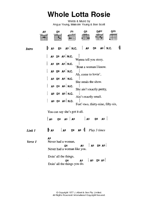 Whole Lotta Rosie by AC/DC - Guitar Chords/Lyrics - Guitar Instructor