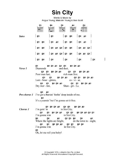 Sin City by AC/DC - Guitar Chords/Lyrics - Guitar Instructor