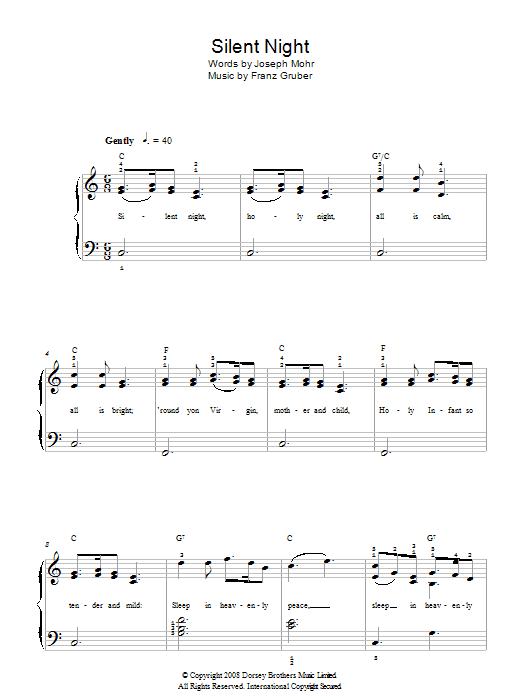 Silent Night Sheet Music Franz Gruber Easy Piano