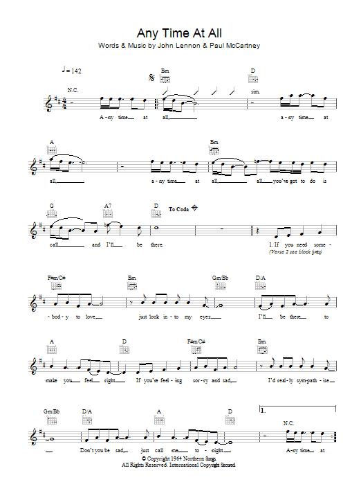 Any Time At All (Lead Sheet / Fake Book)