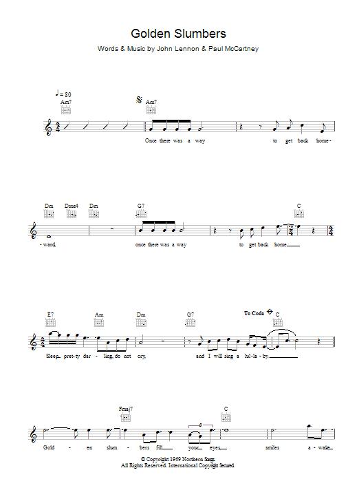Golden Slumbers Sheet Music The Beatles Melody Line Lyrics Chords