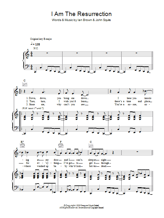 I Am The Resurrection (Piano, Vocal & Guitar)